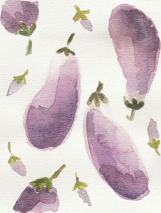 Eggplants, Aubergine original water color painting    ...BTW,Please Check this out:  artcaffeine.imobi...
