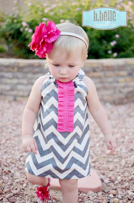 Girls Chevron Halter Dress with Pink Ruffle size 12 months to 4. $49.99, via Etsy.