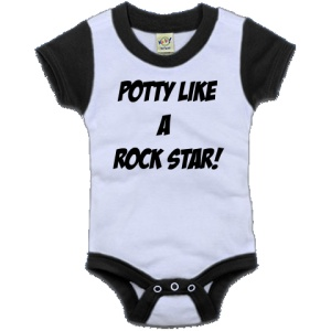 Potty Like A Rock Star! Color Block Infant Creeper - Black and White