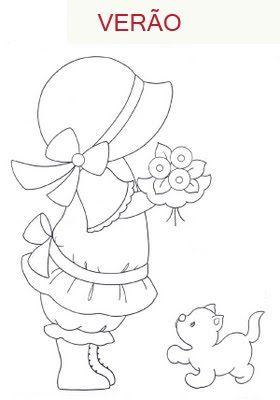 Sunbonnet Sue. Verano. Niña y gatito.                                                                                                                                                                                 Plus