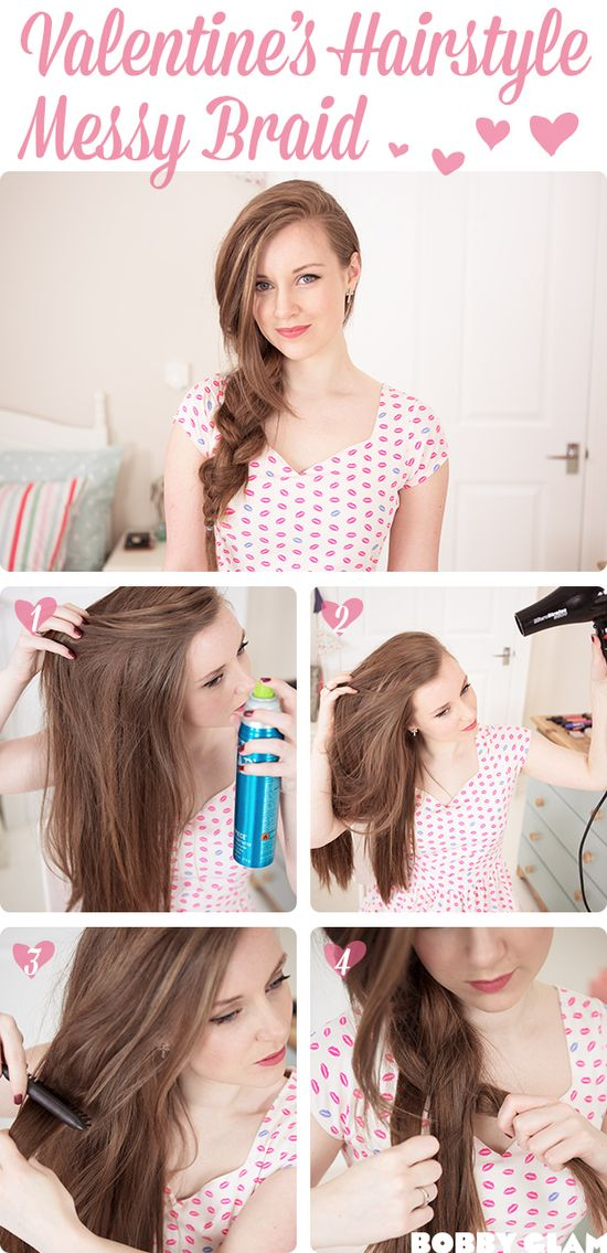 Romantic Valentines day hairstyle - Messy Side Braid