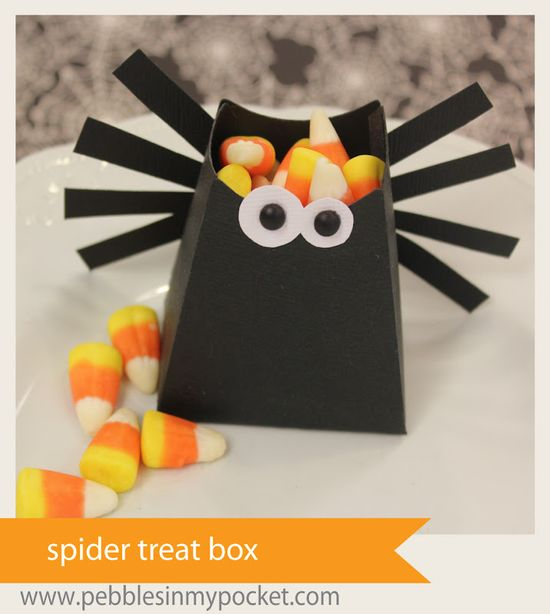 Pebbles In My Pocket Blog: Spider Treat Box ~ could make the box with SU! petal cone die