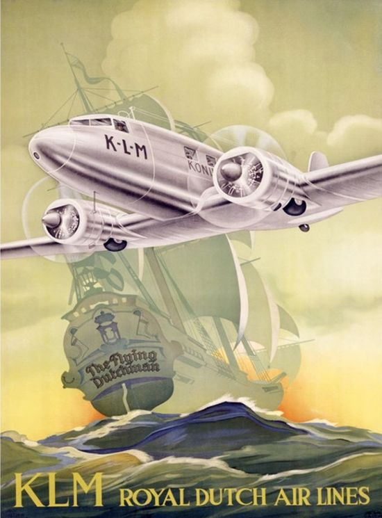 KLM Royal Dutch Airlines Travel Poster