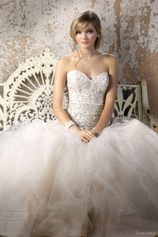 Liancarlo Fall 2012 bridal collection. embroidered tulle with Swarovski crystals sweetheart ball gown, shown with beaded pearl/crystal scallop sash.