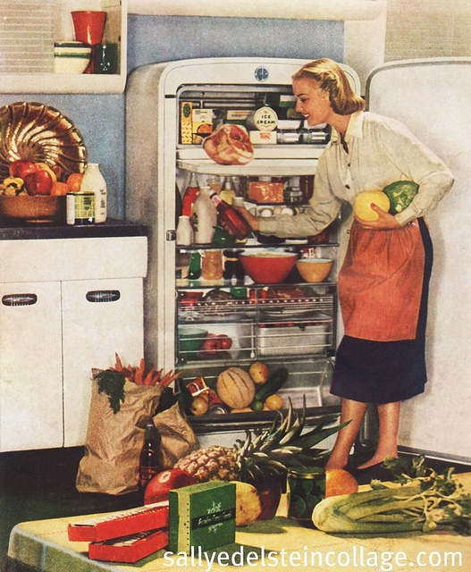 Putting away the weekly shopping in charming 1940s style. #1940s #forties #fridge #homemaker #housewife #woman #ad #vintage #food #retro