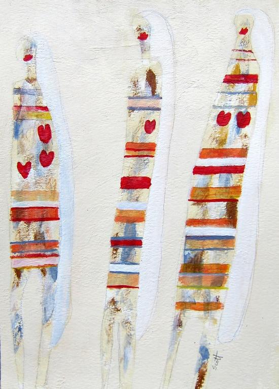 """Hearts"" 12 x 9, acrylic painting on paper. Scott Bergey"