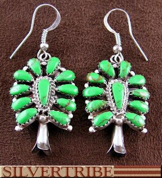 Native American Gaspeite Hook Squash Blossom Earrings Jewelry GS55762