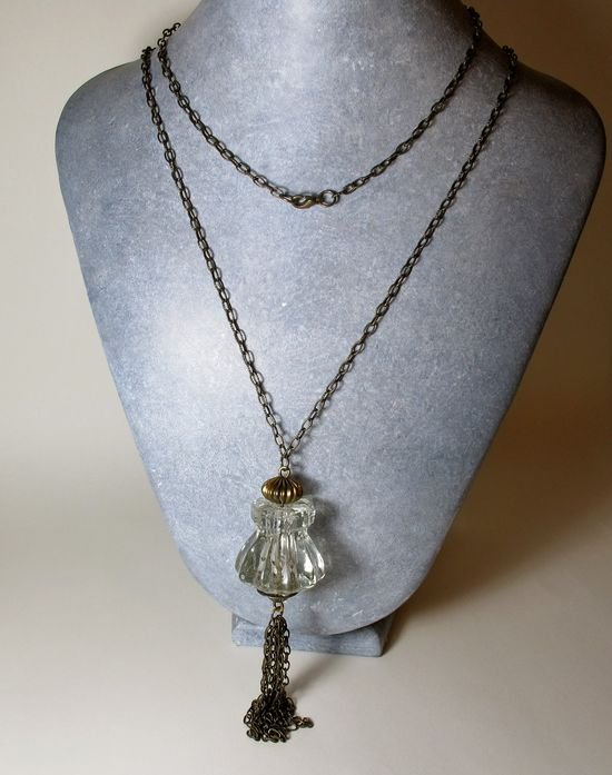 Long Upcycled Necklace,  Repurposed Jewelry Tassel Pendant made from a vintage glass knob: )