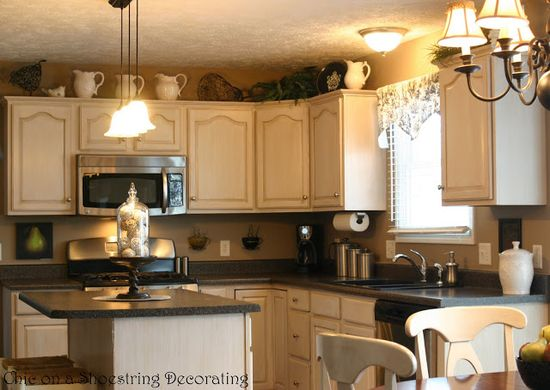 Kitchen Before and After... Featuring Glazed Antiqued Cabinets!