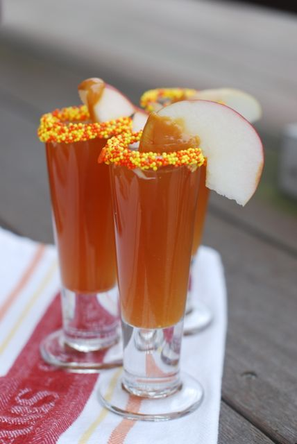 Caramel apple cider shooters!