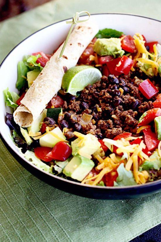 Healthy Taco Salad! Taco Salad with Cilantro Lime Vinaigrette