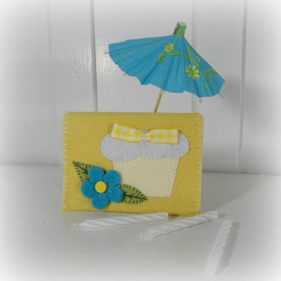 Cupcake Felt Applique Gift Card Envelope by SnowBerryNeedleArts, $10.00