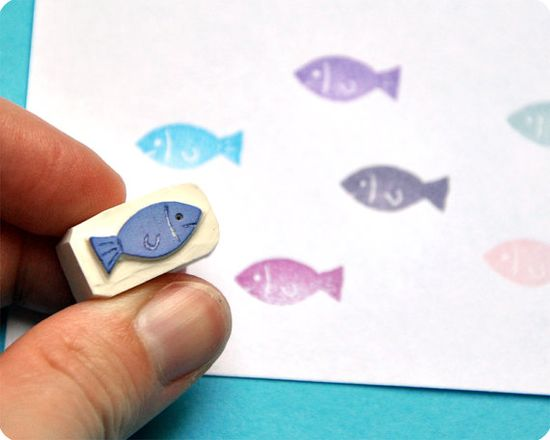 Little fish - Special Summer hand carved rubber stamps $7
