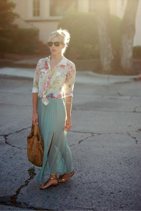 Maxi skirt with button up shirt