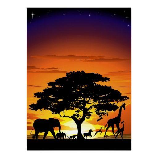 #Wild #Animals on #Savannah #Sunset #Poster