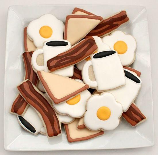 Unbelievably cute, clever, delightful Breakfast Food Sugar Cookies. #bacon #breakfast #eggs #toast #coffee #cookies #decorated #food #baking #dessert #cute #brunch