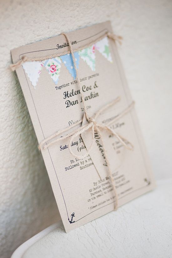 Sweet rustic style wedding stationery with pastel colour bunting