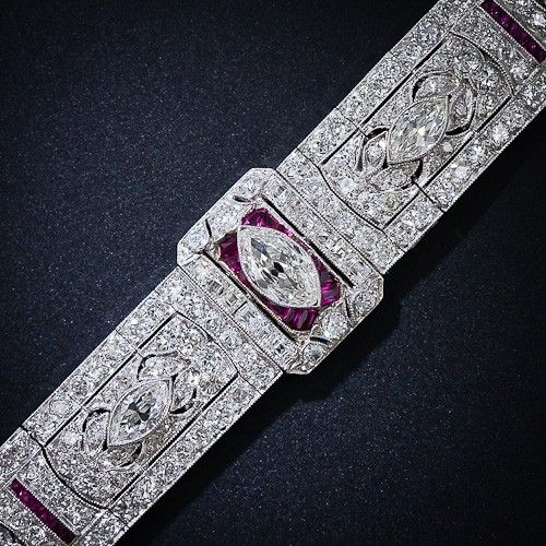Art Deco Diamond and Ruby Bracelet - Circa 1925