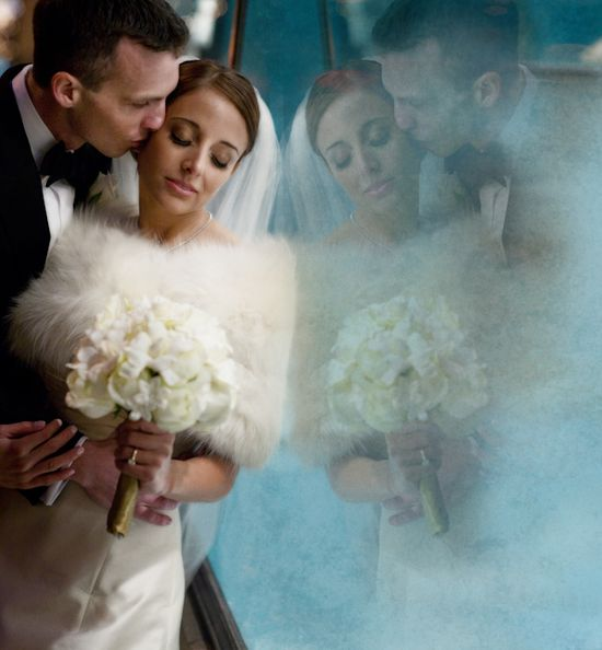 incredible winter wedding bride and groom portrait by J Garner Photography