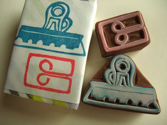 hand carved rubber stamp set - handmade - CLIPS - stationary -