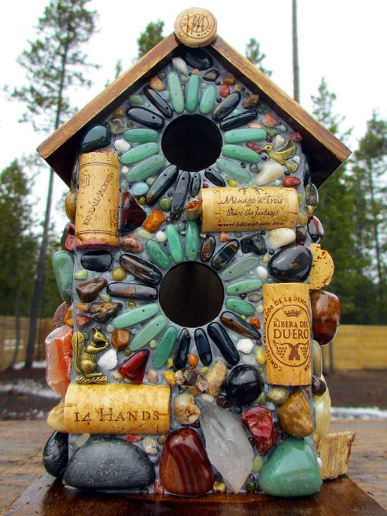 Large Birdhouse Mosaic Wine Cork & Natural - Not my favorite....