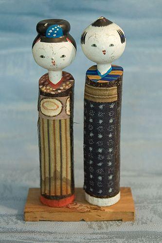 Kokeshi Japanse wooden doll set - Kimono pair Figurine