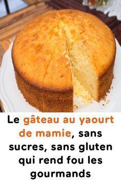 Le gâteau au yaourt de mamie, sans sucres, sans gluten  J'ai mis 1/3 de farine de maïs 1/3 de lupin et 1/3 de coco