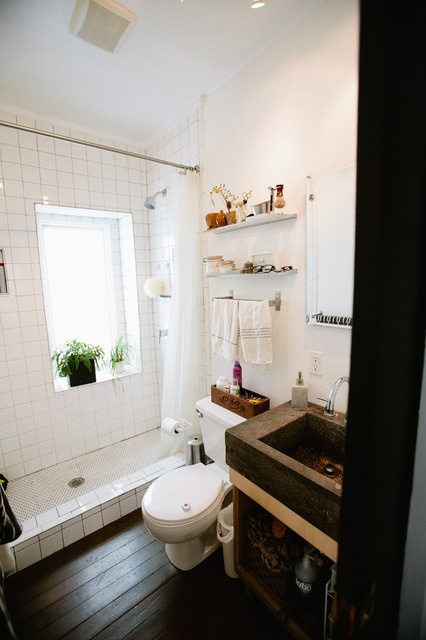 rustic, tiled bathroom