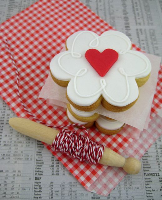my love is blossoming for you red heart cookie for valentine by Bubble and Sweet, via Flickr