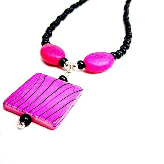 Hot Pink Necklace Black Necklace Pink and Black Fashion by cdjali, $12.00