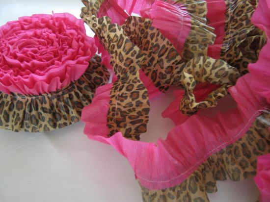 Ruffled Crepe Paper Leopard Party Supply Garland Streamers