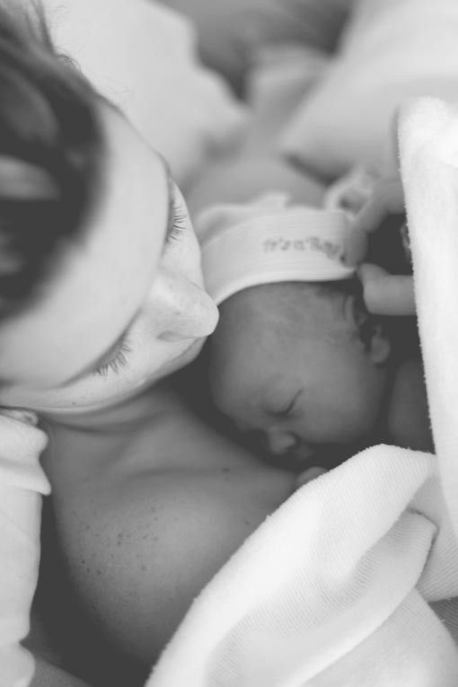 I'd like something with me holding the baby in the first minutes after birth