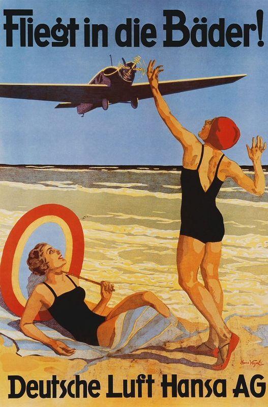 Vintage air travel poster.