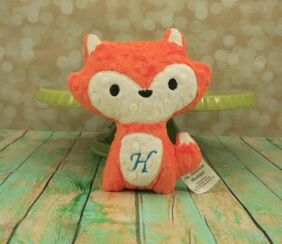 Oh so cute!  :)  Fox Stuffed Animal  Personalized  plush by TheButtercupBoutique, $15.00