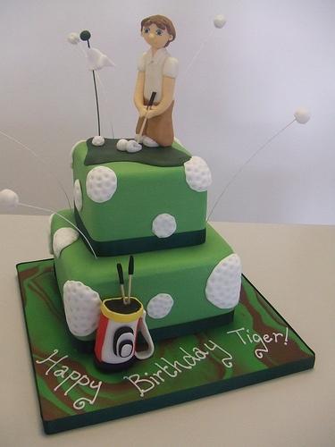 Golf birthday cake –  minus the guy on top