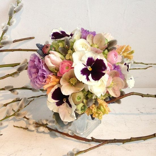 Spring inspired bouquet with pansies by flowerfactory.ca