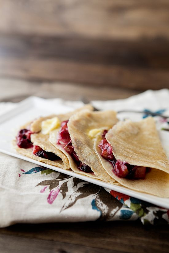 Butter & Honey Crepes with Roasted Blueberries & Rhubarb