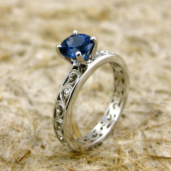Natural Blue Sapphire 14K White Gold Swirly Engagement Ring with Diamond Accent Stones at etsy.com