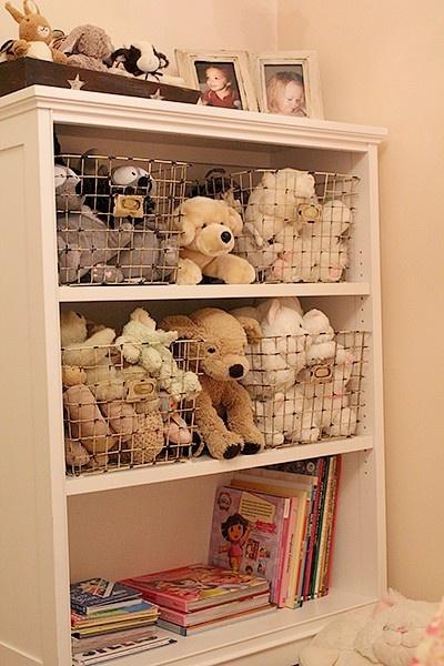 stuffed animal storage. Bedside shelf with stuffed animals and books