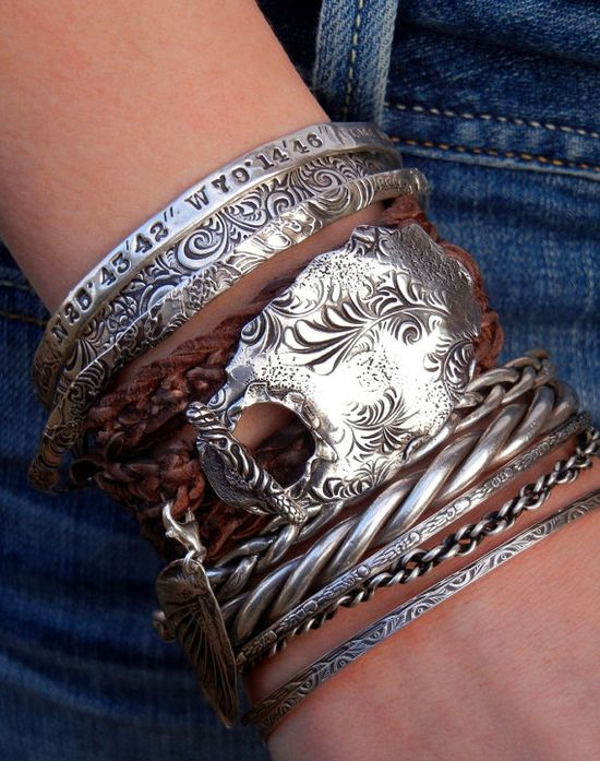Triple Leather Wrap Bracelet & Silver Stacked Bangles, by HappyGoLicky Jewelry- CLICK pic to see details, apply coupon code PIN10 to save 10%