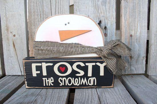 Christmas Decor wood block set . . SnOwMaN. . . Frosty the Snowman winter snowflake gift home seasonal decor. via Etsy.