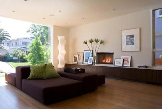 Wooden Floors Interior Design Family Room with Fireplace