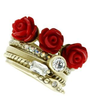 Rose and Crystal Stackable Rings