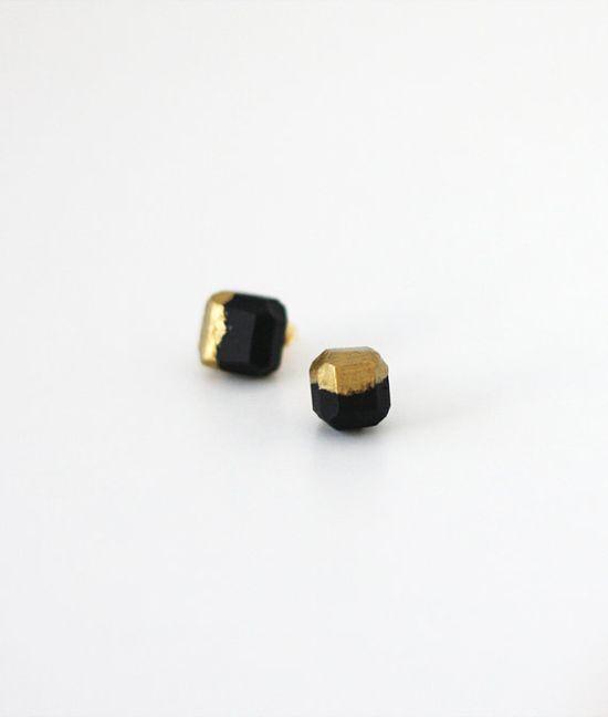 Gold dipped geo earrings