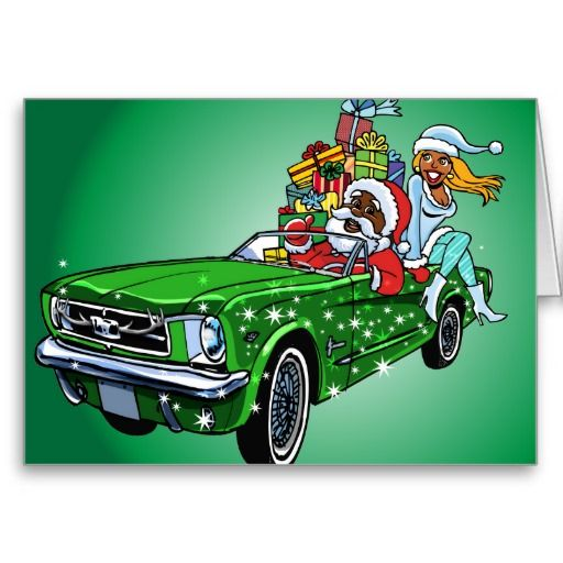 Muscle Car Santa! Greeting Cards
