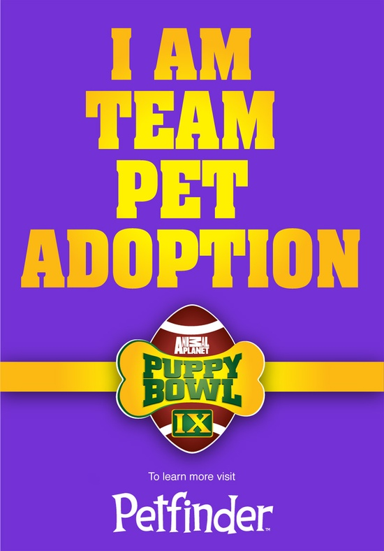 Repin if you'll be cheering for adoptable pets during Puppy Bowl!