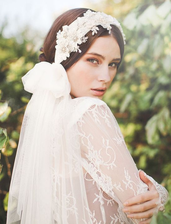 bridal hair wrap with veil at back - gorgeous!
