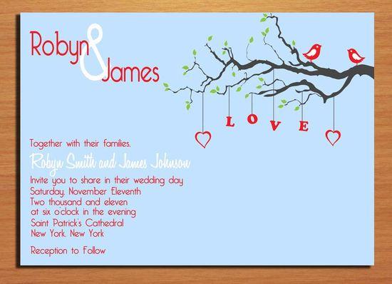 Love Birds Wedding Invitation PRINTABLE / DIY. $20.00, via Etsy.