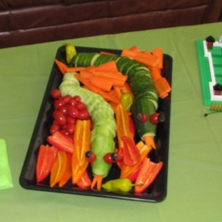 Veggie snakes... Made them for a Ninjago themed birthday party.