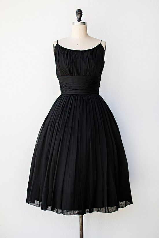 vintage 1950s black chiffon party dress